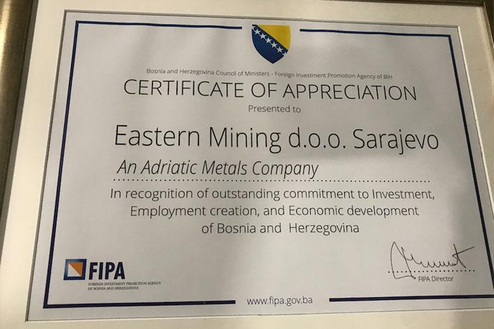 Eastern Mining among the best foreign investors in BiH